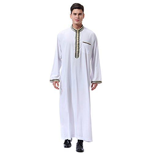 Asiatische Traditionelle Kostüm - Gyratedream Thobe Männer Thobe Mens Arabic Muslimische Kleidung Herren Thobe mit Langen Ärmeln Arabisch Muslim Wear Dubai Thobe Daffah Sultan Saudi Roben Nahen Osten Traditionelle Kostüm