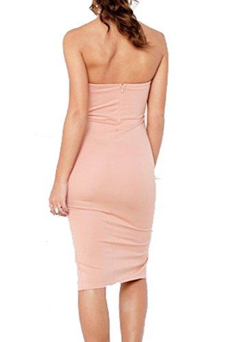 Simplee Apparel Women's Sexy Halter Neck Padded Backless Split Bodycon Pencil Midi Dress Pink UK 12
