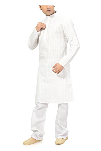 Ishin Cotton White Wedding Wear Festive Wear Casual Wear Party Wear Bollywood Solid New Collection Latest Design Trendy Men's Kurta Pyjama (Pajama) Set  available at amazon for Rs.799