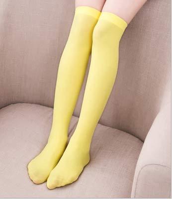 Scaldamuscoli invernali lunghi per le donne - calze a righe calze al ginocchio in velluto bianco e nero a strisce da studente (colore: giallo, misura: 54) (colore : yellow, dimensione : 54)