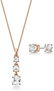 Mestige Women Glass Rose Gold Phoebe Set with Swarovski Crystals
