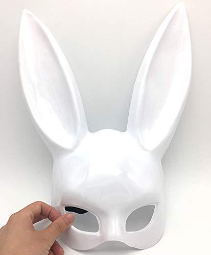 NSMJ Halbe Gesichtsmaske Halloween Kostüm Ball Cosplay Kaninchen Maske Half Face Bunny Maske Party Masken. Helles Weiss