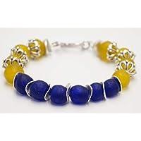 [Sponsorizzato]Bracciale braccialetto perle gialle e blu vetro riciclato a mano Ghana Africa gioiello etnico boho chic bigiotteria artigianale
