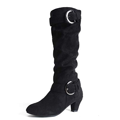Vuticly Womens Kitten Heels Boots Mid Calf Knee high Zipper Buckle Slouchy Shoes Winter Strappy Martin Booties