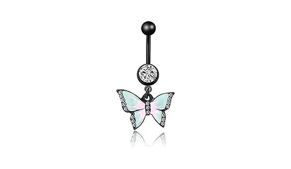 Piercing de nombril acier 316l black ligne papillon strass  bille strass