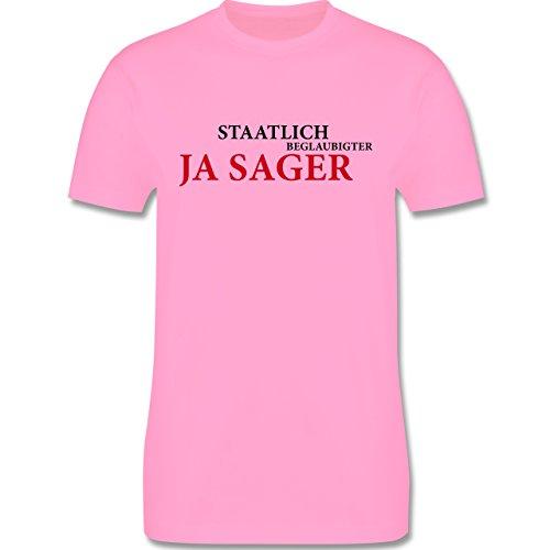JGA Junggesellenabschied - Staatlich beglaubigter JA Sager - Herren Premium T-Shirt Rosa