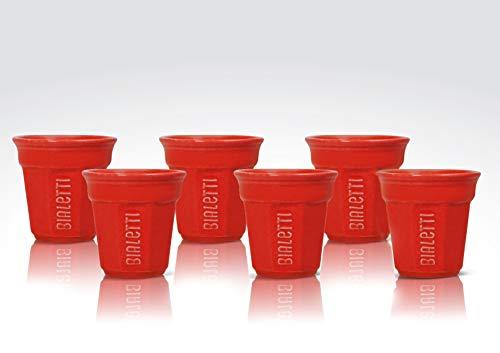 Bialetti Y0TZ503 Set 6 pièces Bicchierini, Céramique, Rouge, 2,35 x 1,4 x 7 cm