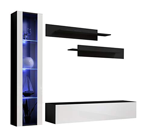 Conjunto Muebles de salón Nora Negro Blanco Modelo G2 con luz LED