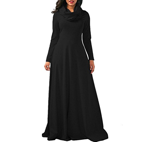 Longra Damenkleider Elegante Kleider Lange Kleider Maxi Kleid mit Schal-Kragen Damen Abendmode Festliche kleider Hochzeit Brautjungfer Abendkleider Cocktailkleid Partykleider (Black, S) (Black Drop-waist-kleid)