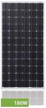 Módulo solar fotovoltaico 180W 72 células monocristalinas para generación de energía eléctrica. Pmax = 180Wp Vmax = 36,02V Imax = 5A Voc = 44,88V Isc = 5,31A