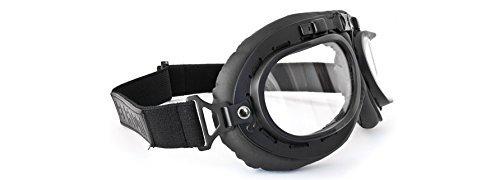 Occhiali moto vintage neri - lente trasparente - by bertoni italy af195a - maschera moto da aviatore per harley e chopper