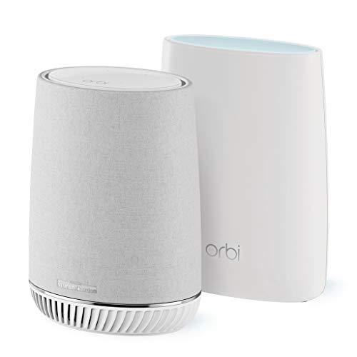 NETGEAR ORBI RBK50V Système Wifi Mesh amplificateur ultra puissant intégrant assistant Alexa Echo et enceinte connectée Harman Kardon (1 routeur + 1 satellite extender) – Jusqu'à 300m² de couverture