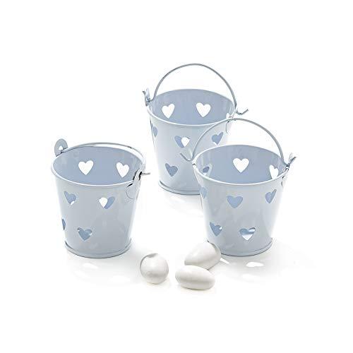 20x secchielli bianchi con cuori in latta verniciata portaconfetti bomboniera matrimonio cresima battesimo comunione