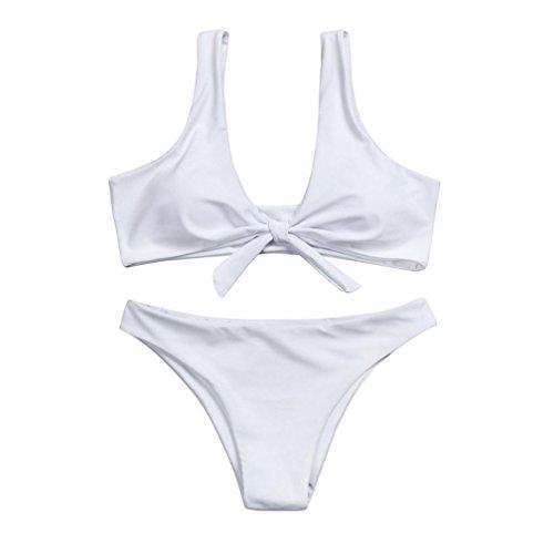 Damen Bikini Sets FORH Frauen Sexy Push Up Halter Padded BH mit Bowknot Zweiteilige Strandkleidung Bademode + Strand Hotpants Boxershorts Reizwäsche Thongs G-String (Weiß, S) (Bowknot Bh)