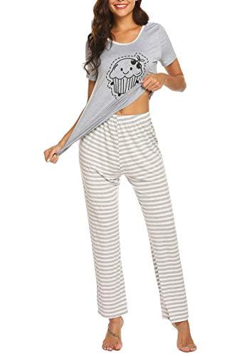 Balancora Pyjama Damen Kurz Ärmel Schlafanzug Set Mode Nachtwäsche Streifen Lang Hose Zweiteiliger