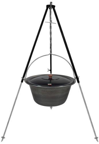 Grillplanet Gulaschkessel Eisen 22 Liter inkl. Deckel und Dreibein mit Kettenhöhenverstellung