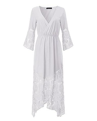 StyleDome Damen Spitze Häkeln Tiefer V Ausschnitt Strand Bbikini Lange Maxi Boho Kleid Weiß 38-40