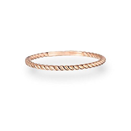 Glanzstücke München Damen-Ring Sterling Silber rosévergoldet - Vorsteckring gedrehtes Seil Stapelring