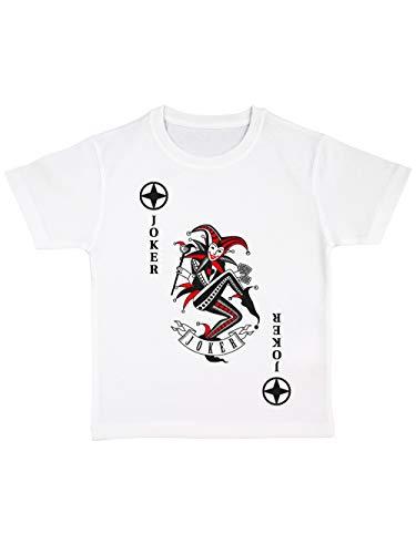 clothinx Kinder T-Shirt Bio Karneval & Fasching Spielkarte Joker Kostüm Weiß/Schwarz_Rot Größe 92