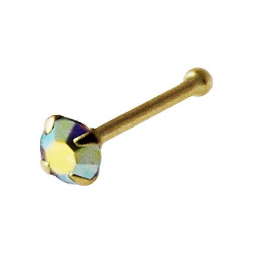 14K Gelb Gold Klauen gesetzt 2,5 MM Regenbogen Runde Crystal Stein 22 Gauge Nase Knochen Nase Stud Piercing