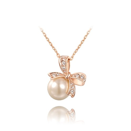 Ananth Jewels Swarovski Elements Big Pearl Bowknot Pendant Necklace for Women with Rose Gold Plated