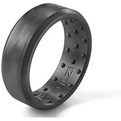 BULZi - Anillo de boda de silicona con ajuste cómodo que masajea; la alianza de boda unisex más cómoda con diseño flexible y seguro para trabajar, Size 10 - ( 7mm Width Band ), Granite Beveled