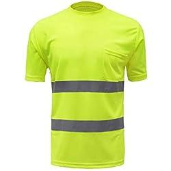 Festnight Alta Visibilidad Camisa de Trabajo de Seguridad Reflectante Chaleco Reflectante Ropa de Trabajo Transpirable Seguridad Camiseta Reflectante Ropa de Trabajo Camisa Polo de Seguridad