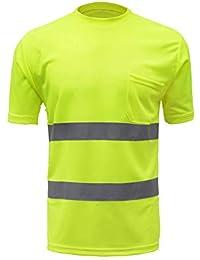 Festnight Camisas reflectantes de trabajo Camisetas de trabajo de seguridad Alta visibilidad Respirable Ligero Ropa de trabajo