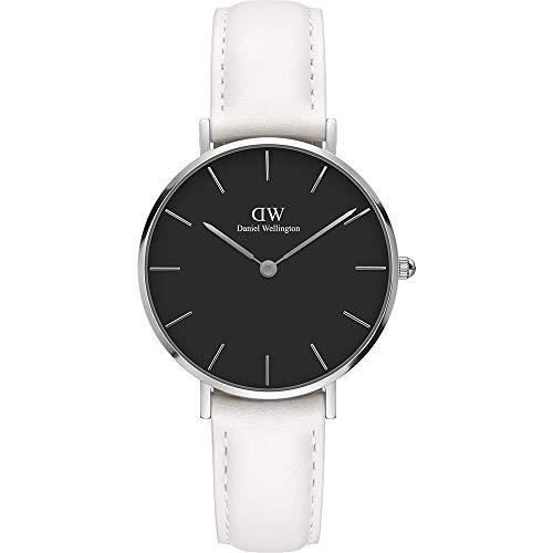 aaf0e52c01e7 Daniel Wellington Reloj de Mujer con Caja de Acero y Correa de Cuero Blanco  – Classic