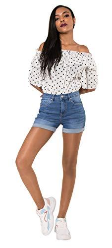Nina Carter Damen Jeans Shorts Stretch blu Denim Sommer Push-up Hotpants Größe 34 Carter Jeans