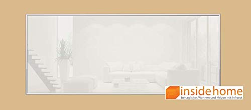 insidehome | Infrarotheizung Glasheizung ELEGANCE |Glas mit 10mm Alurahmen | deutsche Top - Qualität |210 - 1400 Watt | Farbe: weiss (250 Watt - 90x35 cm)