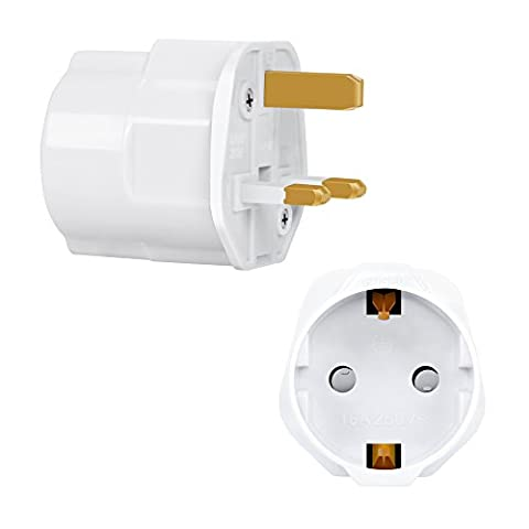 Incutex 1x adaptateur de voyage UK, GB, Angleterre Schuko, 2 broches Europe vers 3 broches RU, blanc