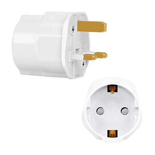 Incutex 1x Reisestecker UK GB England Travel Adapter EU Schuko 2-Pin auf UK 3-Pin Reise Steckdosenadapter Typ G, weiß