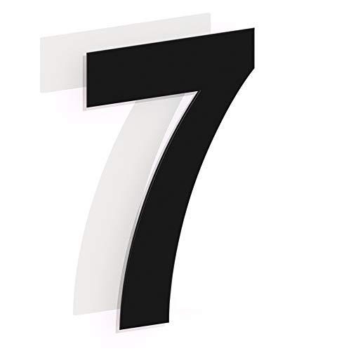 Número de casa moderno cepillado, 205 mm de altura, hecho de acero inoxidable 304 sólido, RAL 7016 antracita negro (Número 7 Siete)
