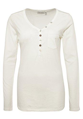 Urban Surface Damen Vintage Longsleeve mit Knöpfen | Leichtes Basic Langarmshirt Aus Hochwertigem Jersey Material White XL (White-tank Vintage)