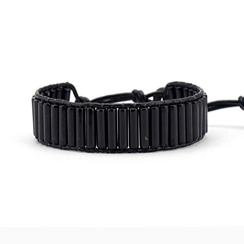 Armband Armreif,Schmuck Geschenk,Unique Tube Shape Black Onyx Single Leather Wrap Bracelets Wholesale Handmade Bohemian Weaving Bracelet