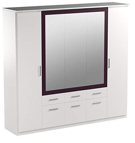 Rauch Schlafzimmerschrank Kleiderschrank Weiß Alpin 5-türig mit Spiegel, 6 Schubladen, Absetzung Brombeer, BxHxT 226x212x56 cm