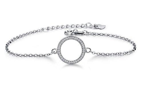 Hosaire Bracelet Femme romantique ronde en forme de Argent Bracelet Réglable Bijoux Cadeau de l'amour (Argent)