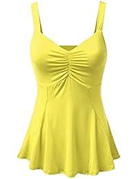 32c9b34d8cf Tidecc Women Plain Flared Swing Cami Vest Tops Spaghetti Strap Tank Tops  Camisole Ruched Tunic Blouse