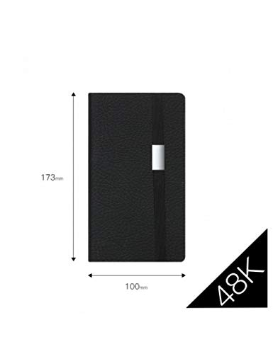 ZXSH Notizbuch Schwarz Business Office Meeting Bandage Notizbuch Soft Cover Journal Agenda Reisen Gepunktete Rasterlinie Papierplaner A5,48K Normale Seiten 1893 Cover