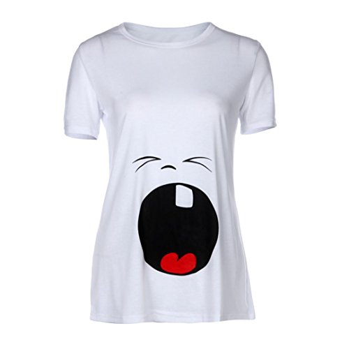 Tee shirt de grossesse, DOLDOA Femmes enceintes T-shirt, T-shirt de maternité Blanc2