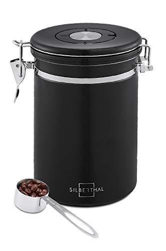 SILBERTHAL Kaffeedose 500g Edelstahl - Vakuum lufdicht verschlossen - Aromadose für Kaffeebohnen, Kaffeepulver - Schwarz