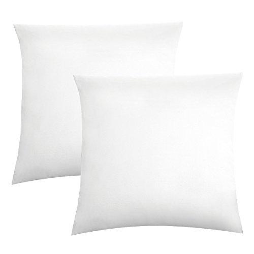 Biberna 0077144 Jersey-Kissenhüllen aus 100 % Baumwolle mit Reißverschluss, 2er-Pack, 40 x 40 cm Weiß, 27 x 18 x 2 cm -