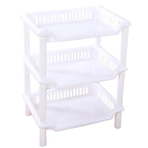 12shage 3 Tier-Plastik-Ecken-Organisator-Badezimmer-Regal-Küche-Speicher-Zahnstangen-Halter (C)