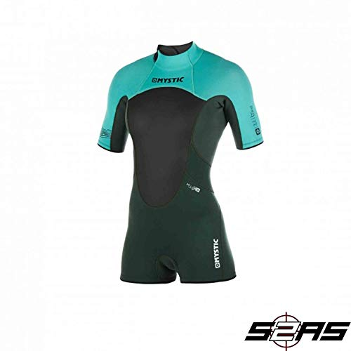 Mystic Watersports - Surf Kitesurf & Windsurfing Damen Brand 3 / 2mm Back Zip Shorty Neoprenanzug Teal - Easy Stretch