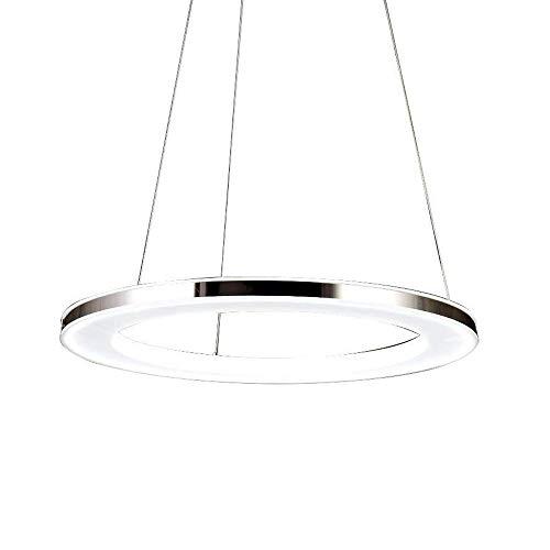 lgoodl Acryl Ring Kronleuchter Edelstahl Deckenleuchten Beleuchtung verstellbar LED Anhänger Lights Beleuchtung für Esszimmer dimmbar mit Fernbedienung Modern D40CM -