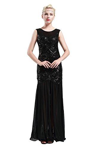 Babeyond Damen 1920s Stil Lange Kleider voller Pailletten Runder Ausschnitt The Great Gatsby Frauen Kostüm Kleid