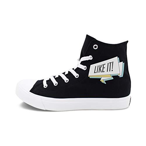 YAN Liebhaber Schuhe leinwand Sommer Herbst Klassische Schuhe lace up Mode high-top Segeltuchschuhe Athletic Schuhe Fitness & Cross Training Schuhe (Farbe : Schwarz, Größe : 35) -