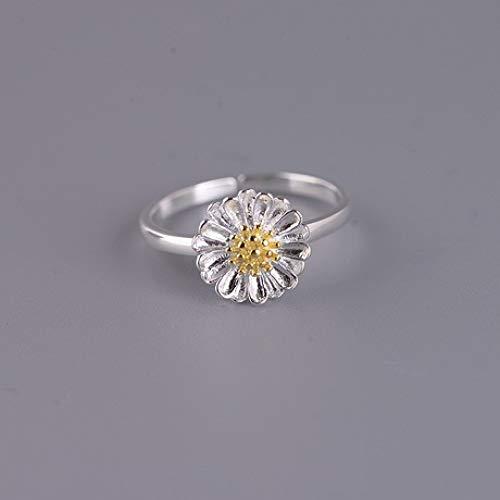 zhenfa S925 Silberring, S925 Silber Daisy Flower Ring, Vintage Gravur Vergoldungsprozess, Verstellbarer Ring, hypoallergen, mit Einer Ringbox