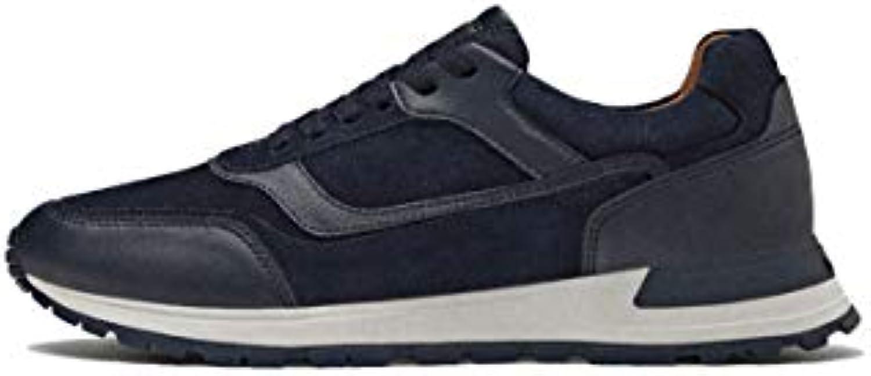 Massimo Dutti Uomo blu Contrasting Leather scarpe da ginnastica 4100 022   Caratteristiche Eccezionali    Maschio/Ragazze Scarpa